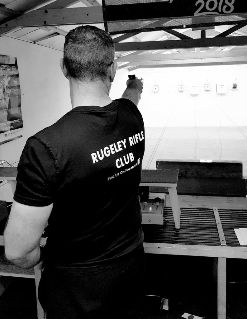 A Rugeley Rifle Club member shoots ten metre Air Pistol