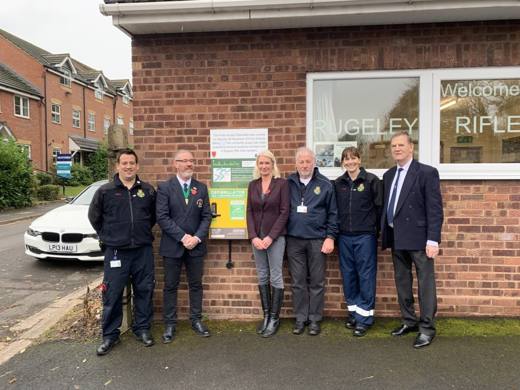 Amanda Milling unveiling of an Automatic Defibrillator with members of Rugeley Rifle Club and Rugeley First Responders.